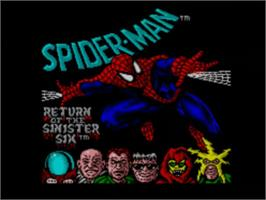 Title screen of Spider-Man: Return of the Sinister Six on the Sega Master System.