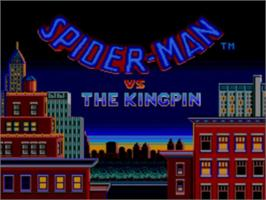 Title screen of Spider-Man vs. the Kingpin on the Sega Master System.