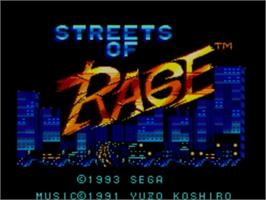 Title screen of Streets of Rage on the Sega Master System.