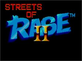Title screen of Streets of Rage 2 on the Sega Master System.