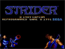 Title screen of Strider on the Sega Master System.