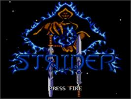 Title screen of Strider 2 on the Sega Master System.