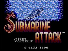 Title screen of Submarine Attack on the Sega Master System.