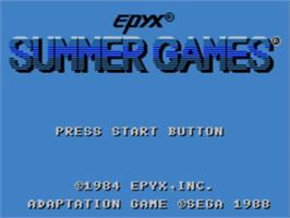 Title screen of Summer Games on the Sega Master System.
