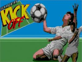 Title screen of Super Kick Off on the Sega Master System.