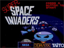 Title screen of Super Space Invaders on the Sega Master System.
