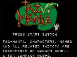 Title screen of Taz-Mania on the Sega Master System.