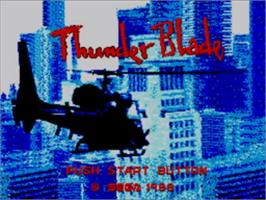 Title screen of Thunder Blade on the Sega Master System.