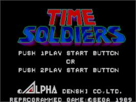 Title screen of Time Soldiers on the Sega Master System.