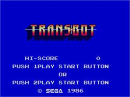 Title screen of TransBot on the Sega Master System.