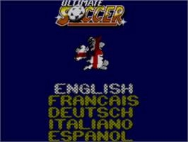 Title screen of Ultimate Soccer on the Sega Master System.