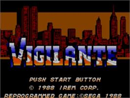 Title screen of Vigilante on the Sega Master System.