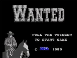 Title screen of Wanted on the Sega Master System.