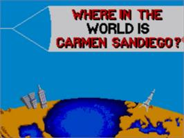 Title screen of Where in the World is Carmen Sandiego on the Sega Master System.