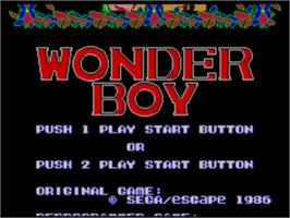 Title screen of Wonder Boy on the Sega Master System.