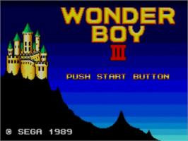 Title screen of Wonder Boy III: The Dragon's Trap on the Sega Master System.