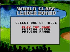 Title screen of World Class Leaderboard on the Sega Master System.