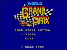 Title screen of World Grand Prix on the Sega Master System.