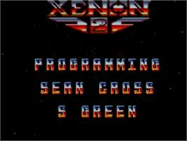 Title screen of Xenon 2: Megablast on the Sega Master System.