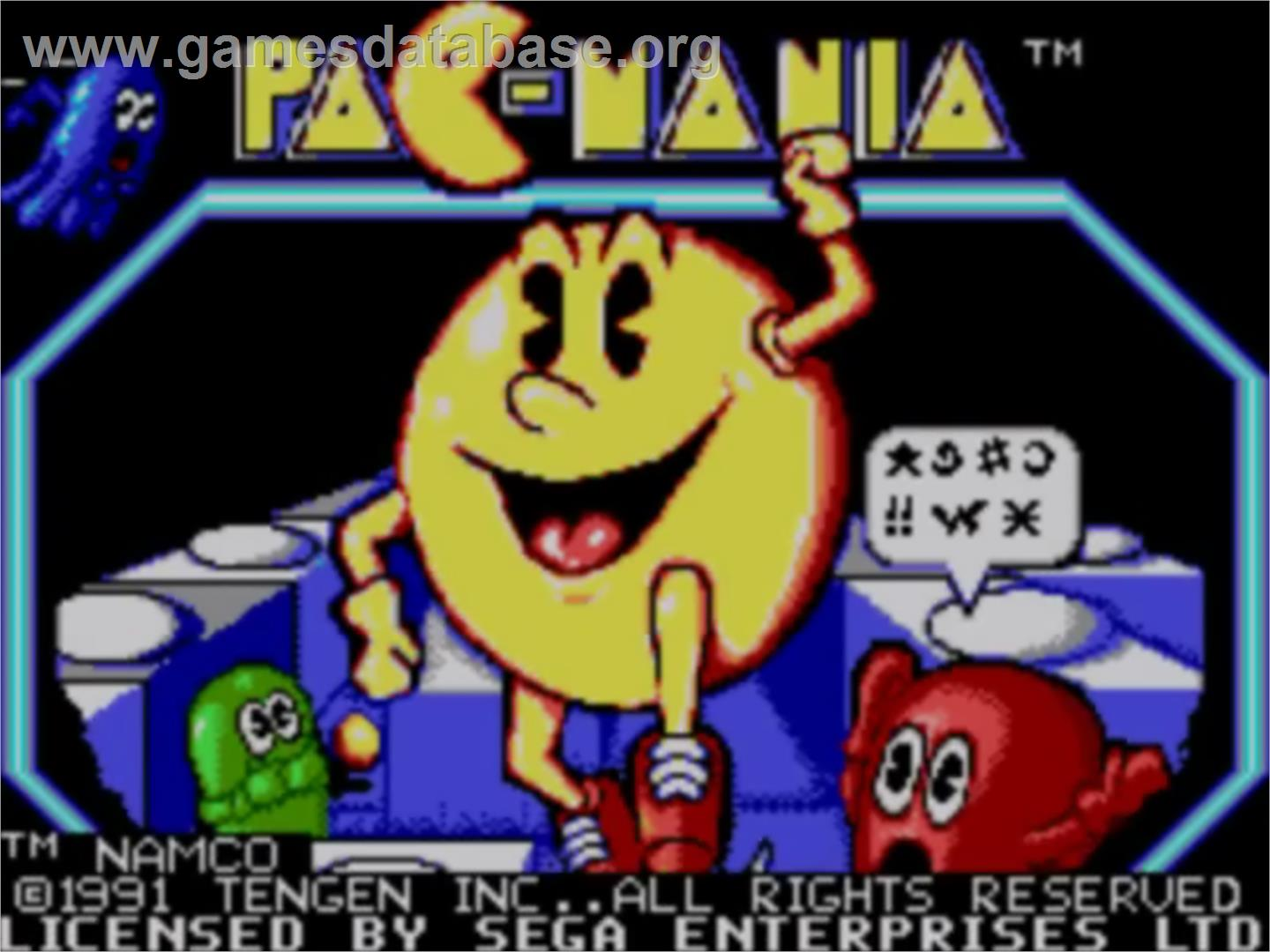 Title screen of Pac-Mania on the Sega Master System.