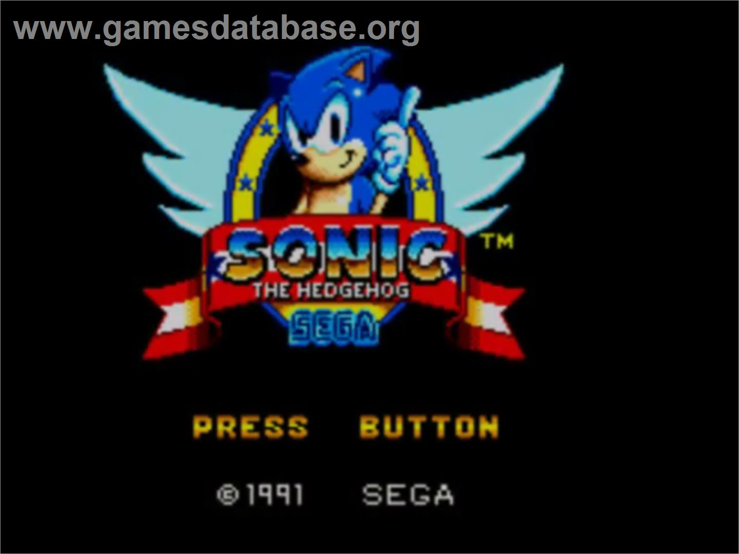 Title screen of Sonic The Hedgehog on the Sega Master System.
