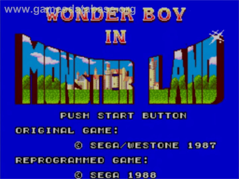 Title screen of Wonder Boy in Monster Land on the Sega Master System.