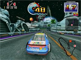 In game image of Daytona USA 2 on the Sega Model 3.