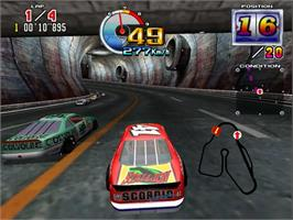 In game image of Daytona USA 2 Power Edition on the Sega Model 3.