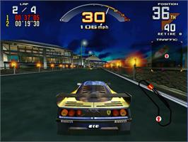In game image of Scud Race on the Sega Model 3.