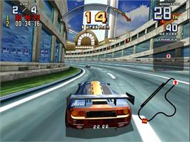 In game image of Scud Race Plus on the Sega Model 3.