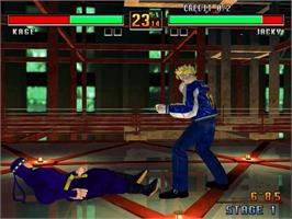In game image of Virtua Fighter 3 on the Sega Model 3.