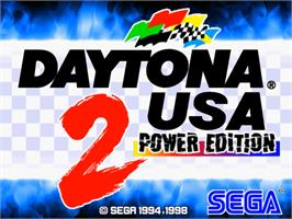 Title screen of Daytona USA 2 Power Edition on the Sega Model 3.