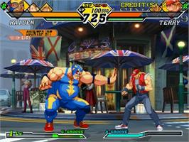 In game image of Capcom vs SNK 2 Millionaire Fighting 2001 on the Sega Naomi.