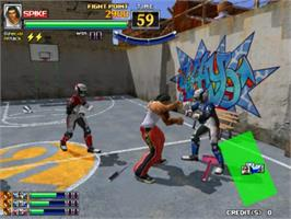 In game image of Spikers Battle on the Sega Naomi.