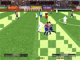 In game image of Virtua Striker 3 on the Sega Naomi.