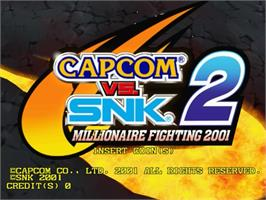 Title screen of Capcom vs SNK 2 Millionaire Fighting 2001 on the Sega Naomi.