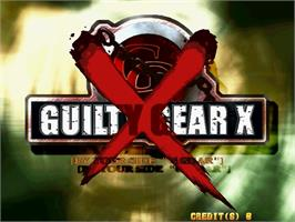 Title screen of Guilty Gear XX on the Sega Naomi.