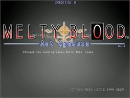 Title screen of Melty Blood Act Cadenza Ver.A on the Sega Naomi.
