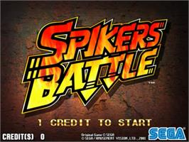 Title screen of Spikers Battle on the Sega Naomi.