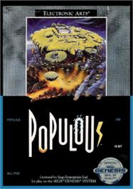 Box cover for Populous on the Sega Nomad.