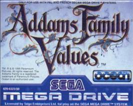 Cartridge artwork for Addams Family Values on the Sega Nomad.