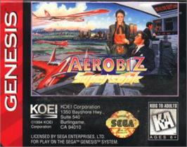 Cartridge artwork for Aerobiz Supersonic on the Sega Nomad.