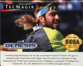 Cartridge artwork for Andre Agassi Tennis on the Sega Nomad.