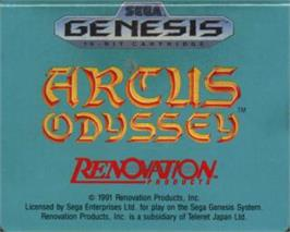 Cartridge artwork for Arcus Odyssey on the Sega Nomad.
