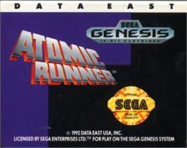 Cartridge artwork for Atomic Runner on the Sega Nomad.