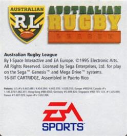 Cartridge artwork for Australian Rugby League on the Sega Nomad.