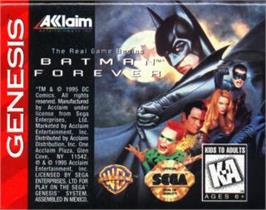 Cartridge artwork for Batman Forever on the Sega Nomad.