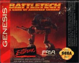 Cartridge artwork for Battletech: A Game of Armored Combat on the Sega Nomad.