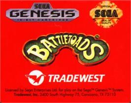 Cartridge artwork for Battletoads on the Sega Nomad.