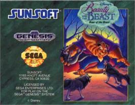Cartridge artwork for Beauty and the Beast: Roar of the Beast on the Sega Nomad.